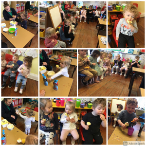 a collection of pictures of children eating, scooping and preparing ice cream cones with a mixture of sauces